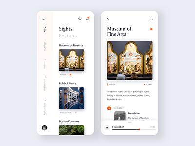 Tourists Mobile App app design museum art minimal mobile app mobile clean ui design