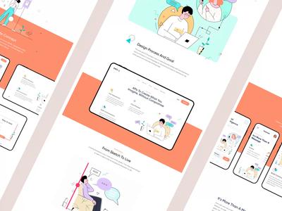 Social Case Study clean minimal lines mobile app landing page landing illustration case study process collaboration chat management social social app logo animation animation