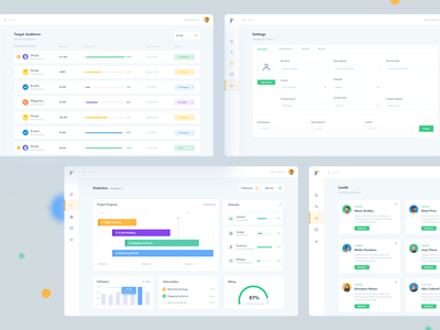 Marketing Dashboard statistics system management tool business leads target audience dashboard ui marketing dashboard marketing dashboard ui afterglow management clean minimal