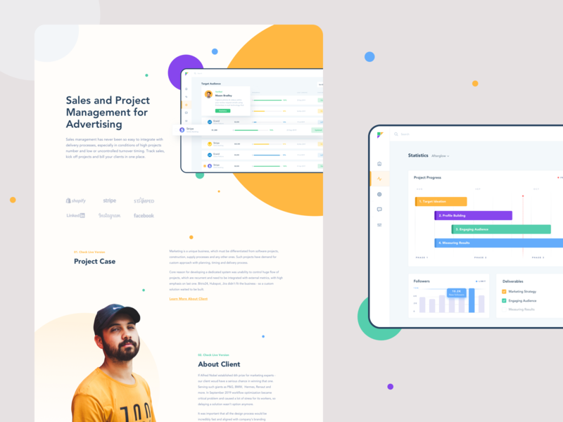 Sales and Project Management Dashboard Case statistics behance case casestudy investing investor planing colors sales page payments social dashboard business afterglow management minimal clean