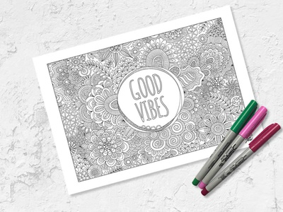 Free Colouring Page good vibes freebie colouring page graphic design vector doodleart illustration