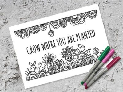 Free Colouring Page flowers freebie colouring page graphic design vector doodleart illustration