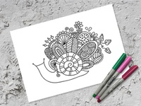 Free Colouring Page freebie colouring page snail graphic design vector doodleart illustration
