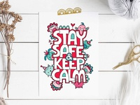 Stay Safe & Keep Calm stay safe covid19 cute animals graphic design design vector doodleart illustration