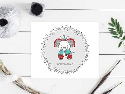 Christmas Elephant seasons greetings christmas cute animals graphic design vector doodleart illustration