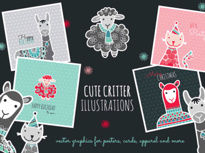 Cute Critters vector critters creative market cute animals illustration