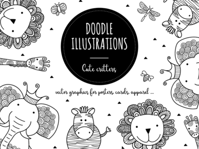 B&W Critters cute animals critter creative market vector illustration doodle