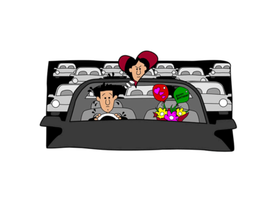 Stuck in Traffic traffic birthday car vector illustration
