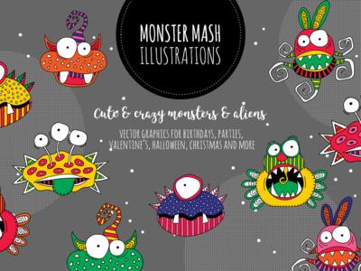 Monster Mash Illustrations aliens monsters cute doodleart design vector creative market illustration