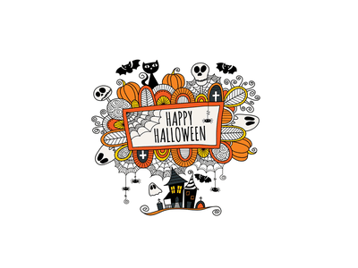 Happy Halloween halloween creative market design doodleart illustration vector