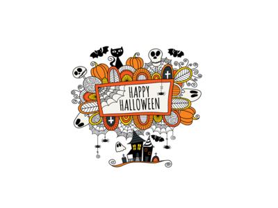 Happy Halloween halloween creative market design doodleart illustration vector