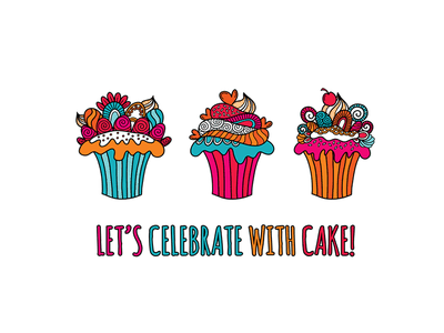 Let's Celebrate With Cake cupcakes design doodleart vector creative market illustration