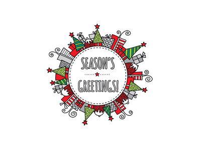 Season's Greetings seasons greetings christmas design doodleart vector illustration