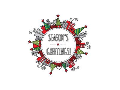 Season's Greetings seasons greetings christmas design doodleart vector illustration