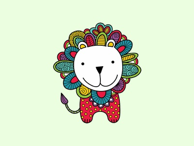 Doodle Lion lion animals doodleart cute vector creative market illustration
