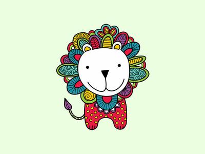Doodle Lion lion animals doodleart cute vector creative market illustration