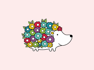 Floral Hedgehog floral flowers hedgehog animals cute doodleart creative market vector illustration