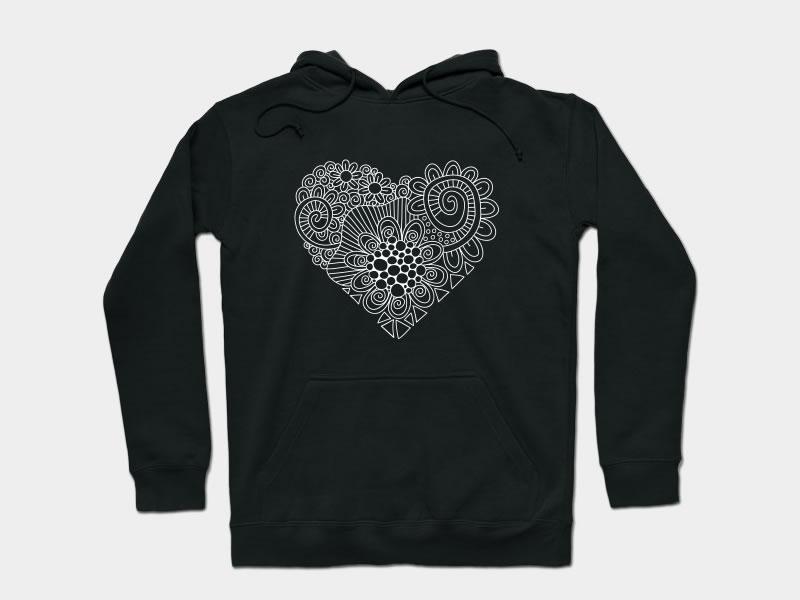 White Heart Doodle apparel love heart graphic design design vector doodleart illustration