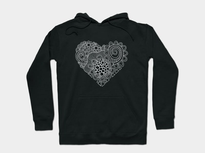 White Heart Doodle apparel love heart graphic design design vector doodleart illustration