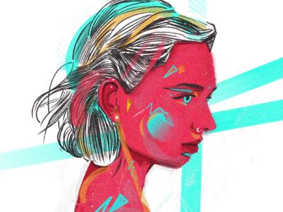 Lazy Girl illustrated neon woman face sketches acid colors portrait portraits illustration illustrations procreate