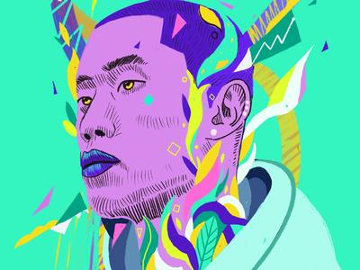Acid crunch painting portrait illustration illustration portrait