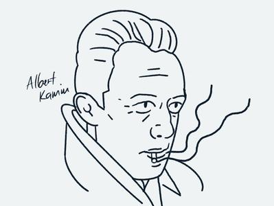 Albert Kamiu portrait editorial character people 2d flat vector illustrator illustration writer genius