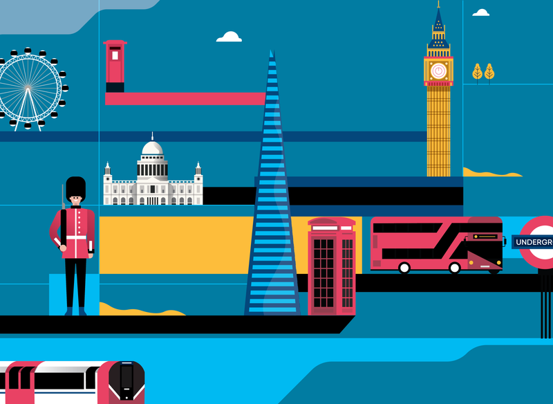 London city - Version 01 london underground vector art london magazine city portrait editorial character people 2d vector illustrator flat illustration