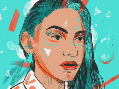 Face in blush acid neon brushes animation illustrations portraits portrait painting illustration procreate
