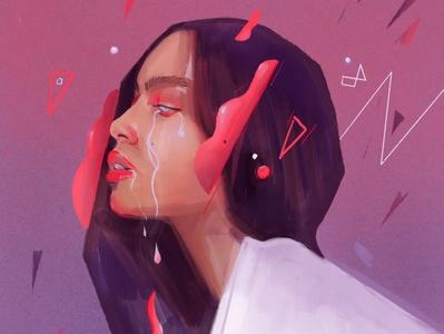 Bubble gum tears face character people 2d vector illustrator flat portrait art portrait painting illustration portrait portraits tears