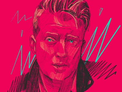 Josh Homme pink editorial character people 2d vector flat illustrator illustration portrait illustration portrait painting portrait art portrait