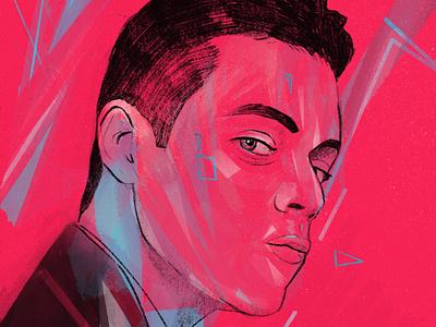 Rami Malek portrait painting editorial procreate illustrator illustrations captured face illustration illustration art portrait illustration portrait art actor portrait villain bond 007 malek illustration