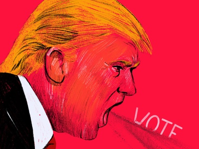 Vote USA voting editorial character people 2d face illustrator illustration scream 750 covid times red debates 2020 elections president vote trump usa