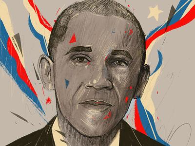 Barack Obama 2d flat illustration creative portraits procreate editorial faces portrait illustrations portrait art portrait campaign president elections vote 2020 vote united states obama