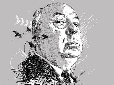 Alfred Hitchcock character design portraits portrait art portrait painting portrait illustration editorial portrait illustration bird illustration illustrator birds crowns