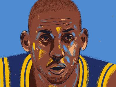 Reggie Miller face procreate people design portrait art portrait painting portrait illustration illustrator illustration portrait basketball player