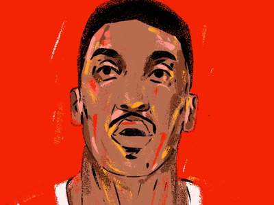 Scottie Pippen portrait art portrait painting portrait illustration portrait chicago basketball player underdog illustrator illustration nba nba star basketball legend chicago bulls