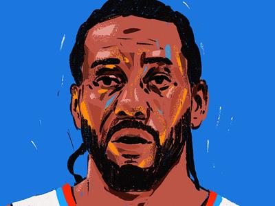 Kawhi Leonard procreate people character portrait art portrait painting portrait illustration portrait illustrator illustration nba basketball player kawhi leonard