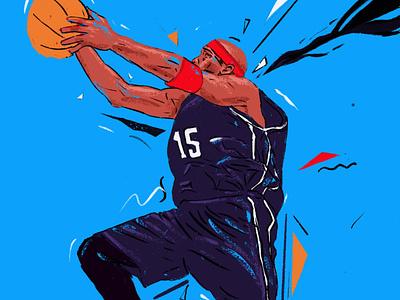Vince Carter character portrait art portrait painting portrait illustration people editorial portrait illustration basketball baskteball player nba 360 raptors slamdunk