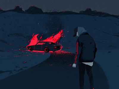 Pink Fire pink fire storytelling story character people flat illustrator blue illustration procreate mysterious killer car night nightcrawler