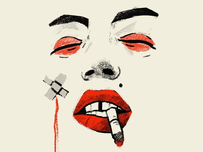 Don't ruin my vibe procreate portrait art portrait painting portrait illustration illustrator illustration people lipstick red kiss fight fatal woman face