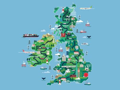 Shortlist Magazine - UK map illustration landscape cars create vector illustration map kingdom united uk editorial magazine