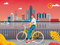 Air Canada inflight mag - Detroit city illustration