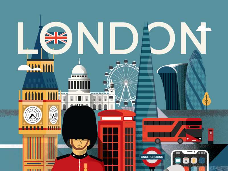London Poster - Upper side of the poster illustrator city 2d flat vector illustration poster character people apple phone underground royal guard big ben st. paul london eye red bus gherkin great britain london underground london