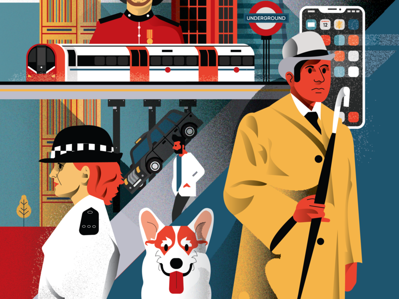 London Poster - The lower side people city illustrator character 2d flat vector illustration black cab taxi metro corgi policeman big ben tube london underground london underground iphone gentleman