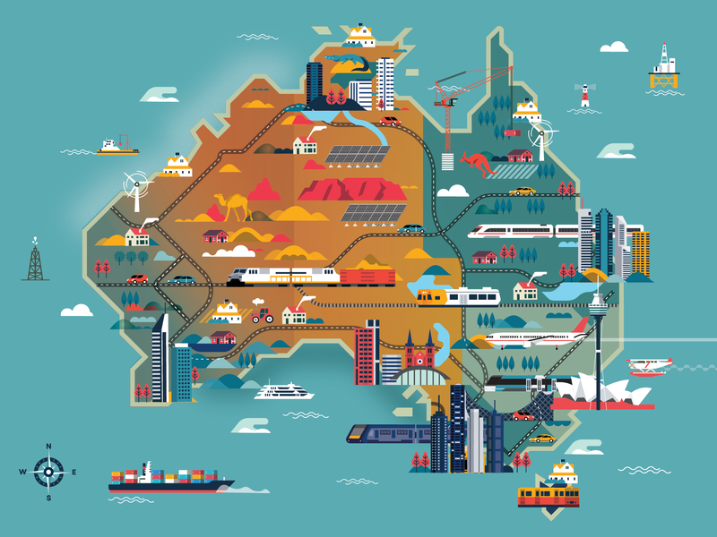 Australia illustrated map aussie magazine editorial city icon people illustrator character 2d flat vector illustration illustrated map australia