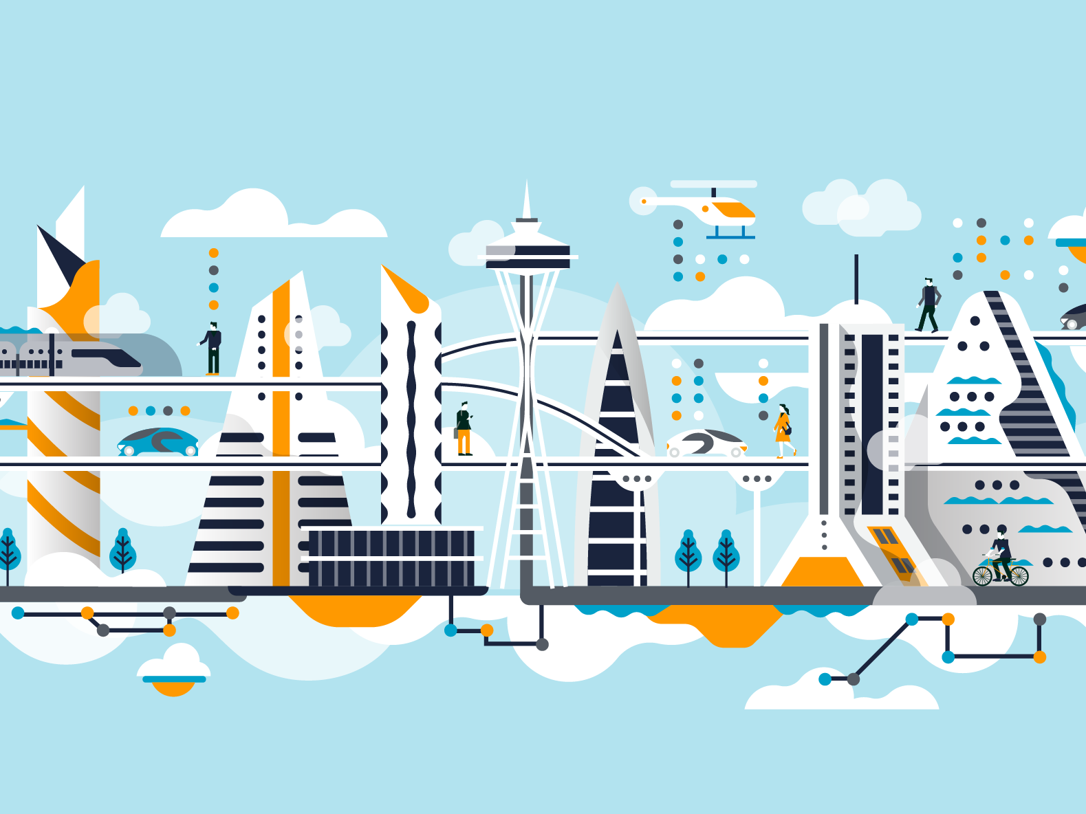 Amazon - Cloud city illustration vehicle editorial city icon people character illustrator 2d flat vector illustration cloud city amazon