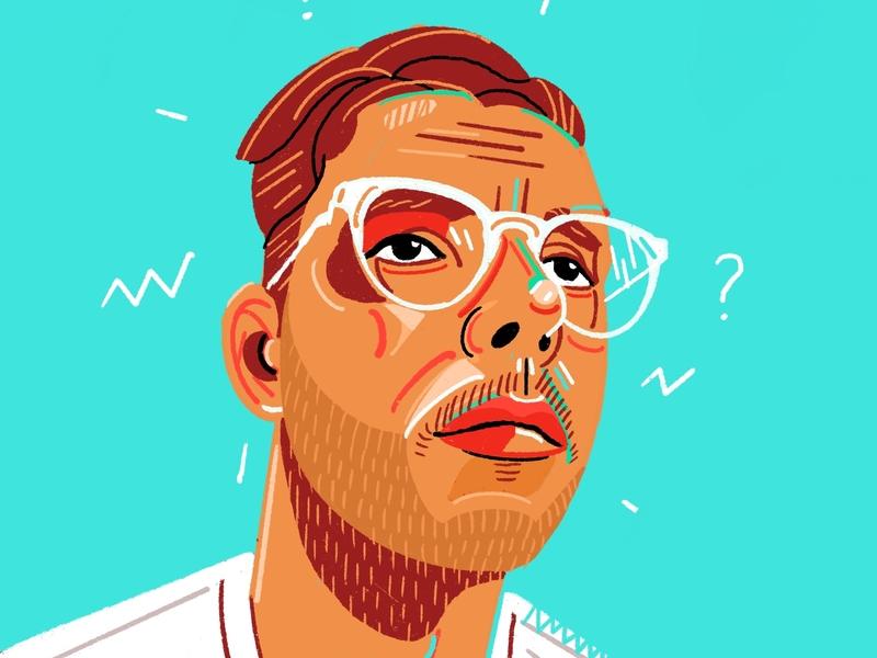 Myself magazine editorial icon people illustrator character 2d flat vector illustration portraits me portrait myself