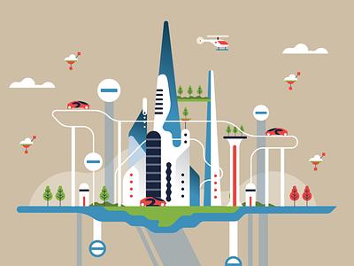 The draft of the future city magazine editorial illustrator flat 2d vector illustration modern city tech city future prospects future city future futureform