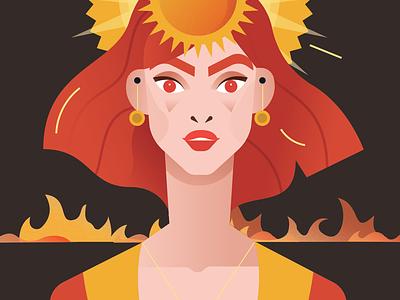 Pagan Gods  - Gabija aka Fire character people illustrator flat 2d vector illustration fire god vectorised pagans