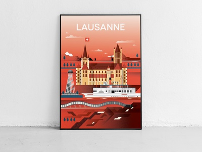 Illustrated city -  Lausanne vectorart editorial flat 2d vector illustration poster illustrator city illustrated city switzerland swiss